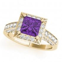 Princess Amethyst & Diamond Engagement Ring 14K Yellow Gold (2.25ct)
