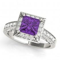 Princess Amethyst & Diamond Engagement Ring 18K White Gold (2.25ct)