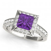 Princess Cut Amethyst & Diamond Halo Engagement Ring Platinum (0.52ct)