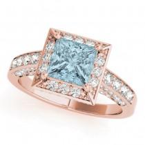 Princess Cut Aquamarine & Diamond Halo Engagement Ring 14K Rose Gold (2.25ct)