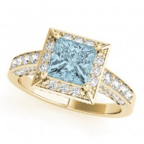 Princess Cut Aquamarine & Diamond Halo Engagement Ring 18K Yellow Gold (2.25ct)