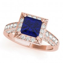 Princess Blue Sapphire & Diamond Engagement Ring 14K Rose Gold (2.25ct)