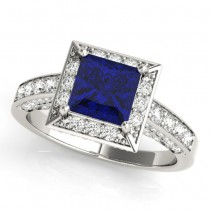 Princess Cut Blue Sapphire & Diamond Halo Engagement Ring 18K White Gold (2.25ct)