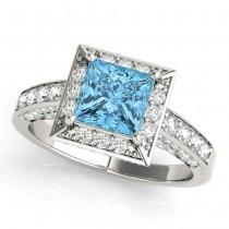 Princess Cut Blue Topaz & Diamond Halo Engagement Ring Palladium (2.25ct)