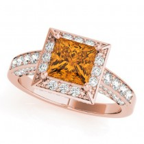 Princess Citrine & Diamond Engagement Ring 14K Rose Gold (2.25ct)