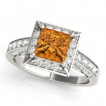 Princess Cut Citrine & Diamond Halo Engagement Ring 14K White Gold (2.25ct)