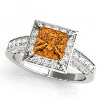 Princess Cut Citrine & Diamond Halo Engagement Ring Platinum (2.25ct)