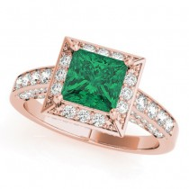 Princess Cut Emerald & Diamond Halo Engagement Ring 14K Rose Gold (2.25ct)
