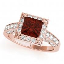 Princess Cut Garnet & Diamond Halo Engagement Ring 14K Rose Gold (2.20ct)