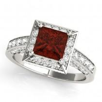 Princess Garnet & Diamond Engagement Ring 18K White Gold (2.20ct)