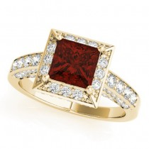 Princess Garnet & Diamond Engagement Ring 18K Yellow Gold (2.20ct)