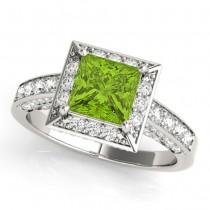 Princess Cut Peridot & Diamond Halo Engagement Ring 14K White Gold (2.20ct)