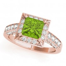 Princess Cut Peridot & Diamond Halo Engagement Ring 18K Rose Gold (2.20ct)