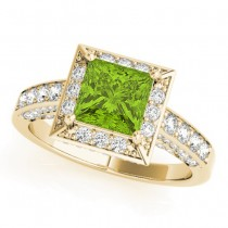 Princess Peridot & Diamond Engagement Ring 18K Yellow Gold (2.20ct)