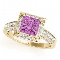 Princess Cut Pink Sapphire & Diamond Halo Engagement Ring 14K Yellow Gold (2.25ct)