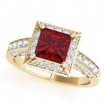 Princess Ruby & Diamond Engagement Ring 18K Yellow Gold (2.20ct)
