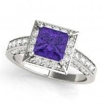 Princess Cut Tanzanite & Diamond Halo Engagement Ring 14K White Gold (2.25ct)