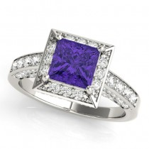 Princess Cut Tanzanite & Diamond Halo Engagement Ring 18K White Gold (2.25ct)