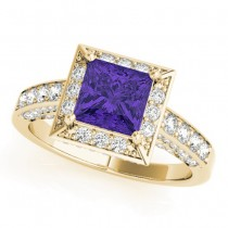 Princess Cut Tanzanite & Diamond Halo Engagement Ring 18K Yellow Gold (2.25ct)