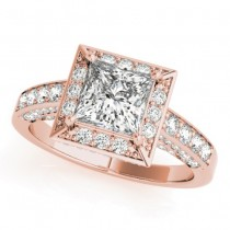 Princess Cut Diamond Halo Engagement Ring 14K Rose Gold (1.14ct)