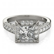 Princess Cut Diamond Halo Engagement Ring 14K White Gold (1.14ct)