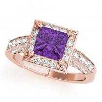Princess Amethyst & Diamond Engagement Ring 14K Rose Gold (1.20ct)