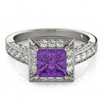 Princess Amethyst & Diamond Engagement Ring 14K White Gold (1.20ct)