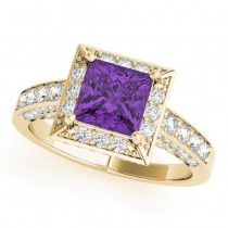 Princess Amethyst & Diamond Engagement Ring 18K Yellow Gold (1.20ct)