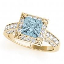 Princess Aquamarine & Diamond Engagement Ring 14K Yellow Gold (1.20ct)