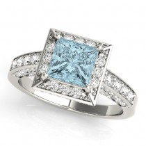 Princess Cut Aquamarine & Diamond Halo Engagement Ring 18K White Gold (1.20ct)