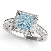 Princess Cut Aquamarine & Diamond Halo Engagement Ring Palladium (1.20ct)