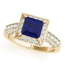 Princess Blue Sapphire & Diamond Engagement Ring 18K Yellow Gold (1.20ct)