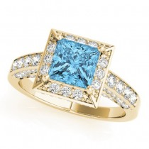 Princess Cut Blue Topaz & Diamond Halo Engagement Ring 14K Yellow Gold (1.20ct)