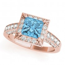 Princess Blue Topaz & Diamond Engagement Ring 18K Rose Gold (1.20ct)