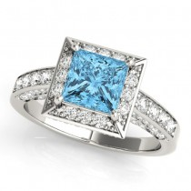 Princess Cut Blue Topaz & Diamond Halo Engagement Ring 18K White Gold (1.20ct)