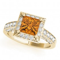 Princess Citrine & Diamond Engagement Ring 14K Yellow Gold (1.20ct)