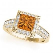 Princess Citrine & Diamond Engagement Ring 18K Yellow Gold (1.20ct)