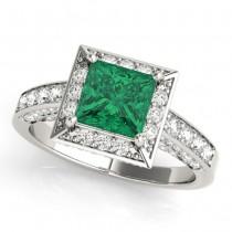 Princess Emerald & Diamond Engagement Ring 14K White Gold (1.20ct)