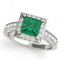 Princess Cut Emerald & Diamond Halo Engagement Ring 18K White Gold (1.20ct)