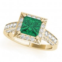 Princess Cut Emerald & Diamond Halo Engagement Ring 18K Yellow Gold (1.20ct)