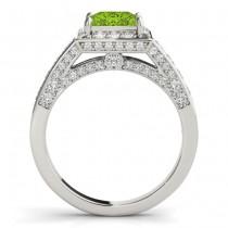 Princess Peridot & Diamond Engagement Ring 14K White Gold (1.20ct)