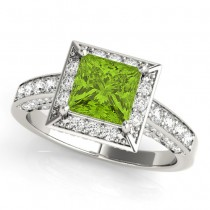 Princess Cut Peridot & Diamond Halo Engagement Ring Platinum (1.20ct)