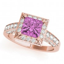Princess Pink Sapphire & Diamond Engagement Ring 18K Rose Gold (1.20ct)