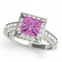 Princess Cut Pink Sapphire & Diamond Halo Engagement Ring Palladium (1.20ct)