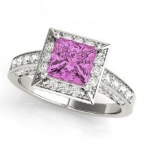 Princess Pink Sapphire & Diamond Engagement Ring Platinum (1.20ct)