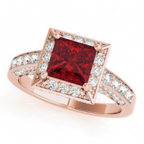 Princess Cut Ruby & Diamond Halo Engagement Ring 18K Rose Gold (1.20ct)