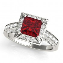 Princess Cut Ruby & Diamond Halo Engagement Ring 18K White Gold (1.20ct)