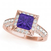 Princess Tanzanite & Diamond Engagement Ring 14K Rose Gold (1.20ct)