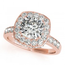 Cushion Cut Halo Diamond Engagement Ring 14k Rose Gold (1.34ct)