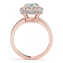 Cushion Cut Halo Diamond Engagement Ring 14k Rose Gold (1.34ct)